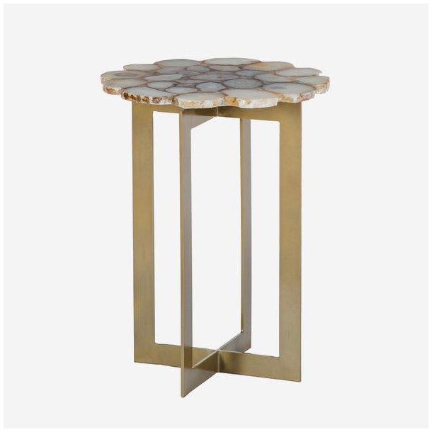 Side Table With Agate Top And Brass Legs